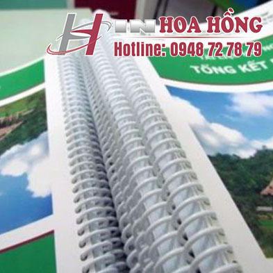 Đóng gáy lò so nhựa tịa in Hoa Hồng